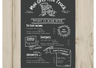 création menu food truck