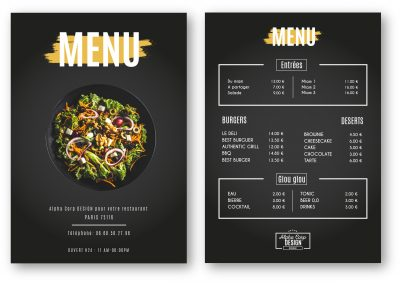création menu