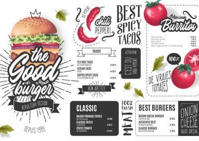 création menu fastfood